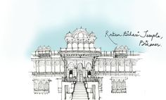 One of my initial sketches back from my thesis site-study days(2013). The 200 year old Ratan Bihari Temple from the desert town of Bikaner, Rajasthan.  P.S.  Been going through my all my old sketchbooks to upload and publish stuff. Excuse me for the random order in which  sketches appear!