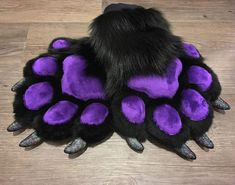 Sparkle claws and purple minky pawpads on this luxurious black paws! Fursuit Paws, Fursuit Tutorial, Yarn Tail, Anime Furry, Cute Art, Lana, Character Design, Costumes, Kitten Mittens