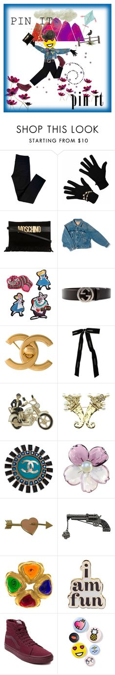 """""""I emjoi my stick pins!"""" by diannecollier ❤ liked on Polyvore featuring J Brand, Moschino, Balenciaga, Olympia Le-Tan, Gucci, Chanel, ban.do, Vans, Bing Bang and RED Valentino"""