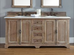 "72"" Providence Driftwood Double Sink Bathroom Vanity Soft-Close Door/Drawers…"