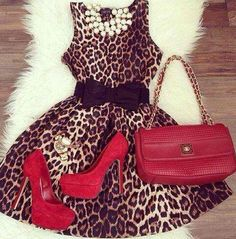 Leopard dress with red heels
