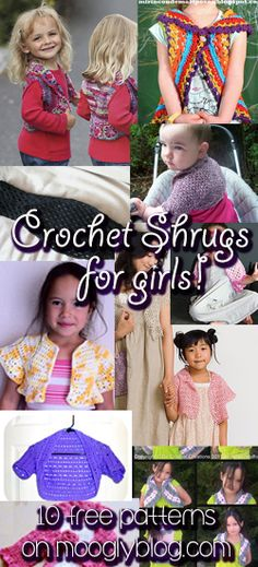 Crochet Shrugs for Girls: 10 free patterns, from super simple to fantastic challenges! #crochet #free
