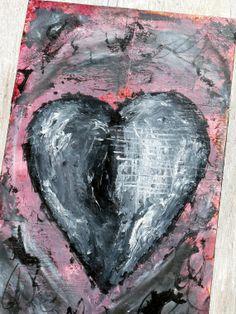 Heart Art Folk Art My Darkened Heart Number 3 by MagpiesandMimsy, $46.00