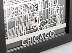 Stainless Steel Chicago Illinois Cut Map