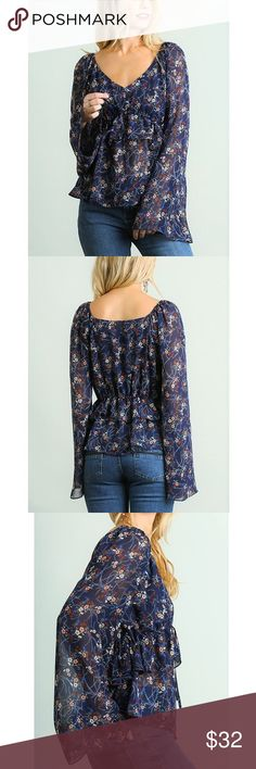 Floral Print V Neck Blouse Beautiful navy blue floral print blouse with bell sleeves. Cotton/polyester blend. Umgee Tops Blouses