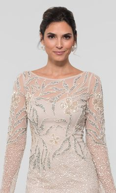 Image of long Adrianna Papell beaded MOB dress with sleeves. Mother Of The Bride Dresses Long, Mother Of Bride Outfits, Mothers Dresses, Mob Dresses, Special Dresses, Dresses With Sleeves, Dresses Online, Pretty Dresses, Beautiful Dresses