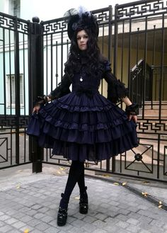 "hide-vi: "" My outfit for Gothic&Lolita festival teaparty. Dress - Millefleurs, blouse - AP, socks - Moitie, shoes - Bodyline, bonnet and gloves - handmade by me "" Harajuku Fashion, Kawaii Fashion, Fashion Outfits, Emo Outfits, Steampunk, Visual Kei, Gothic Lolita Fashion, Gothic Lolita Dress, Estilo Lolita"