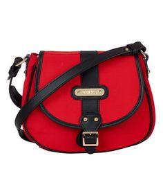 Look at this #zulilyfind! Red & Black Leather-Trim Saddle Crossbody Bag #zulilyfinds