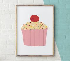 Cake Printable Cupcake wall art Cake Print kitchen by YoYoStudio