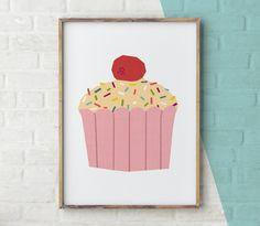 Cake Printable Cupcake wall art Cake Print kitchen by YoYoStudio