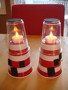 Lighthouse kids craft, made with Solo cups, battery-operated tea lights, and black foam. Ocean Crafts, Vbs Crafts, Church Crafts, Crafts For Kids, Bible School Crafts, Sunday School Crafts, Bible Crafts, Vbs 2016, Vacation Bible School