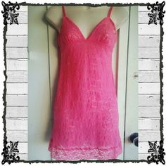VS All Over Lace Chemise/Slip/Nightie Bright pink all over over stretch lace chemise slip, in beautiful condition- no pilling, snags, or tears. Size medium with adjustable straps. 100% nylon. Victoria's Secret Intimates & Sleepwear Chemises & Slips