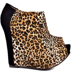 Fran Tick - Leopard Black by Luichiny Black Heels, Black Suede, Peep Toe Platform, Crazy Shoes, Top Shoes, Ankle Boots, Footwear, Wedges, Shoe Bag