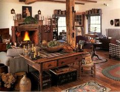 Love the country look & all the accents! ~ And, of course, the fireplace !!