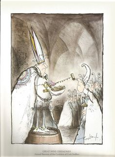 vintage  humourous ronald searle wine ceremonies of the world, cork sniffers, wine art