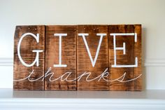 Reclaimed Wood Art Sign Give Thanks Thanksgiving by BooneCreekLoft