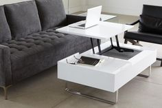Evo coffee table with drawer and lifting tabletop Condo Living Room, Living Spaces, Living Rooms, Coffee Table Structube, Evo, Table Beton, Table Cafe, Coffee Table With Drawers, Mid Century Modern Decor