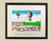 Balloons on Eliseevsky Fields in Paris_Vintage Collage Illustration_ Download for transfer on pillow, bag, canvas, paper.