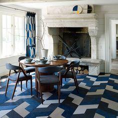 Esszimmer Wohnideen Möbel Dekoration Decoration Living Idea Interiors home dining room - Moderne Esszimmer mit blauen geometrische Drucke