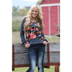 Blue Pullover with Floral Front and Elbow Patches With Pockets