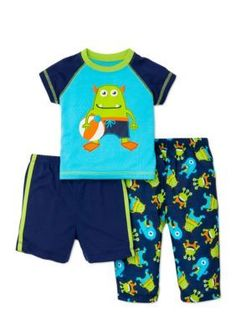 Little Me  3-Piece Monster Pajama Set Toddler Boys