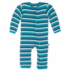PREORDER Kickee Pants Boy Forest Stripe Print Coverall