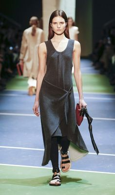 Phoebe Philo introduced not one, but several leggings on her F/W 16 catwalk for Celine. Layered underneath dresses, like this wrap-front version, they felt similar to what a modern dancer would...