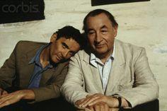 """Massimo Troisi and Philippe Noiret as Mario Ruoppolo and Pablo Neruda in """" IL POSTINO """""""