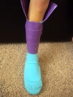 Make your own costume boots from ballet flats, a sock and duct tape!
