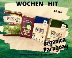 Vier paraguayische Yerba Mate organica bio mit Zertifikaten, je 0.5 kg: Jerovia, La Rubia, FD Federico, Fd La Mejor. Yerba Mate, Promotion, Food, Gifts, Essen, Meals, Yemek, Eten