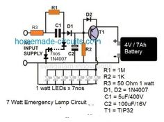 The post discusses 10 simple automatic LED emergency light circuits with built-in trickle charger. Hobby Electronics, Electronics Basics, Electronics Projects, Chemical Engineering, Electrical Engineering, Led Projects, Electronic Circuit Projects, Solar Inverter, Emergency Lighting
