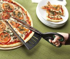 Pizza Slice Server Combined with Kitchen Scissors
