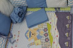 Bedding set for baby boy with  teddy-bear made of от TeetherLand