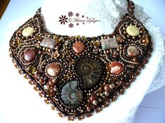 necklace AMMONITES and FOSSILS embroidery Ebw Team Seed beaded jewelry ebeg