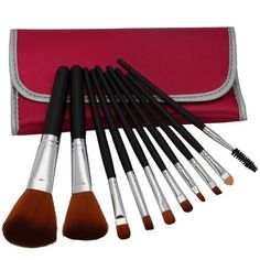 Professional 10 Pcs Makeup Make up Cosmetic Brushes Set Kit Eyeshadow Eyelash Eyebrow Lip Powder Blush Brush with Peach Bag Case Pouch by Crazy Cart. $5.05. Features: 1. The makeup brush set is easy to carry and use 2. With superior-quality, the makeup brushes in the set will not irritate your skin 3. Durable unique packaging can well protect your makeup brushes 4. It is an important beauty essential for you 5. Handle made of plastic and aluminum 6. It is suita...