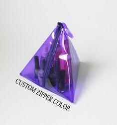 Neon Purple Clear See Through Plastic Transparent Bag,PVC Vinyl Bag,Pyramid Bag,Cosmetic Bag,Toiletry Bag,Makeup Bag,Zipper Pouch Purse