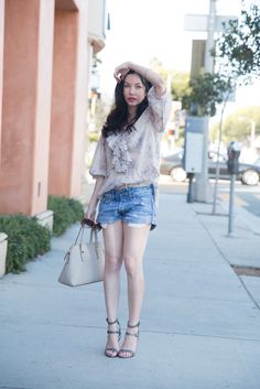 Denim and Supply Bohemian Blouse, Ralph Lauren, Kate Spade Bag, Rebecca Minkoff Sandals, Abercrombie & Fitch Shorts, AFStyle, Summer Fashion