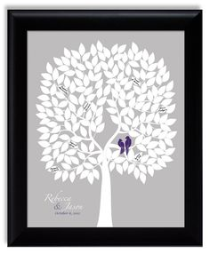 Wedding Tree Guest Book Alternative - Guestbook Poster with love birds, eggplant purple silver gray, david's bridal lapis, 16x20 for 200. $45.00, via Etsy.