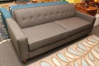 Brand new gray tufted back sofa--mid century Mad Men style! $999  Seattle Furniture Consignment | Consign Design