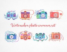 """Check out new work on my @Behance portfolio: """"Watercolor photo cameras set"""" http://on.be.net/1OdnPh2"""