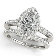 Marquise Diamond Halo Cathedral Engagement Ring Pave Band