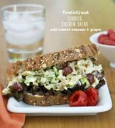 Chicken Poppy Seed Salad Sandwiches from FoodNetwork.com. I would serve as a salad or in phyllo cups as an appetizer.  #chickenrecipes #chicken #recipe #salad