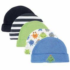 Set of baby boy newborn hats, monster series