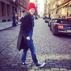 Katerena DePasquale in cashmere red beanie from new collection, NYC.