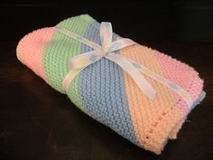 Handmade knitted blanket for newborn babies, colorful / Knitted throw / Simple diagonal pattern