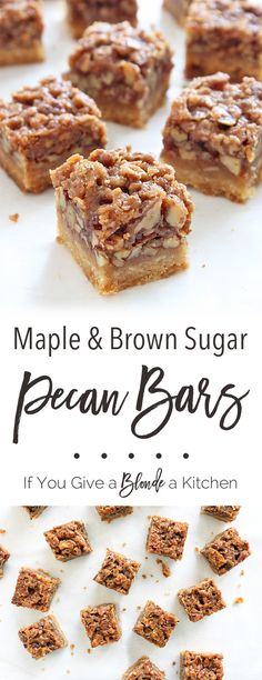 These maple pecan bars have a flaky, sweet crust contrasted by a maple-coated, crunchy pecan filling. Tastes just like pie! | @haleydwilliams