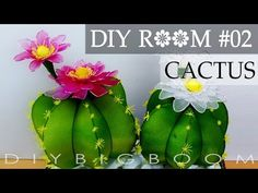 Diy room decor for small rooms girls - How to make Cactus nylon stocking flower - YouTube