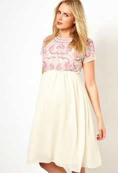 Embellished Pink Maternity Dress - perfect for the spring or summer! #maternity #style