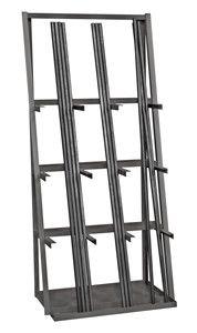 14 Gauge Steel Vertical Long Parts Storage Rack Features: -Finish: Durable texture powder coat. Metal Storage Racks, Metal Rack, Metal Shop, Garage Storage, Tool Storage, Storage Ideas, Garage Shelving, Fabric Storage, Shelves
