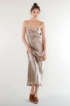 GIA SLIP - OYSTER SILK - DRESSES - CLOTHES